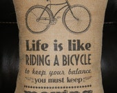 Life is like riding a bicycle Burlap Pillow bikes - PolkadotApple