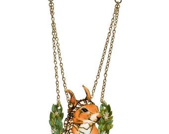 SALE Squirrel Wreath Necklace.  50% OFF!