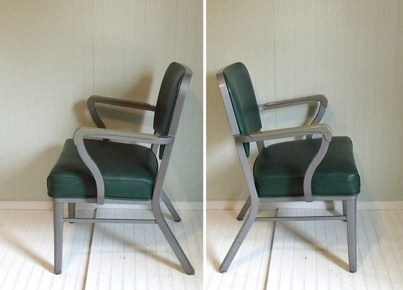 Mid Century Industrial Upholstered Steel Chair - Retro SteelCase Office Furniture - Vintage Desk or Guest Seating - FREE Shipping