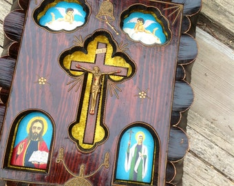 1970s wall shrine carved wood crucific hand painted saints twinkle lights yellow crushed velvet