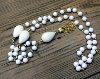 Vintage Convertible White Necklace/Bracelet with Gold Links & Tassel AND Tiny White Beads on Golden Chain Necklace.  Instant Collection :)
