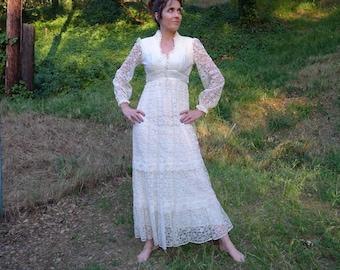 Lace Wedding Dress 70s boho hippy Vintage