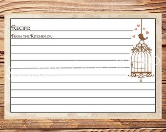 Recipe Card, Vintage Birdcage, Vintage Recipe Card, Birds, Birdcage, Brown -A73