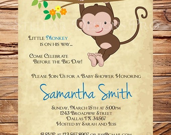 Monkey Baby shower Invitation, Little Monkey, Boy, Girl, Girl Baby Shower Invite, Boy Baby Shower Invitation, Pink, Blue, Brown, 1407