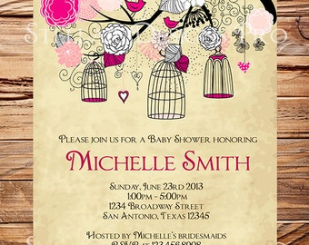 Birdcages Baby Shower Invitation, Birdcages Baby Shower Invitation,  Pink, Black, Girl, Vintage Baby Shower Invite, Purple, Brown, 1060