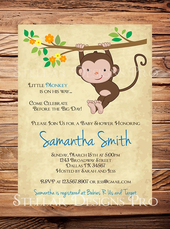 monkey baby shower invitation little monkey boy girl girl, Baby shower invitations