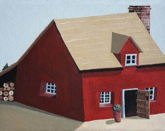 Forest Lodge Original Painting Acrylic on Gessoed Canvas