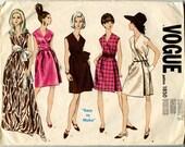 1960s Vintage Vogue's Basic Design 1850 Misses Evening or Cocktail A Line Wrap Dress in Two Lengths Bust 31