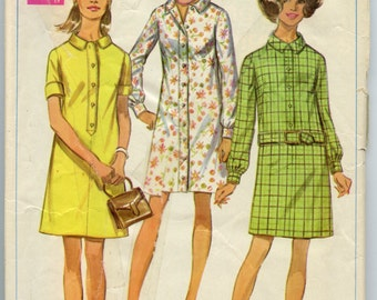1960s Simplicity 8084 Misses Shirt Dress Vintage Sewing Pattern  Bust 32.5