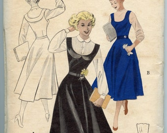 1950s Vintage Sewing Pattern Butterick 5441 One Piece Jumper Flared Skirt Bust 34 UNCUT