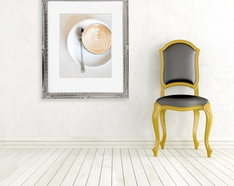 coffee photograph food photography fine art photo kitchen wall decor latte colour white brown color cafe