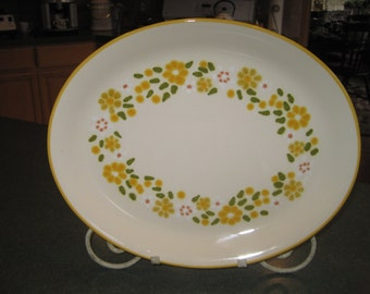 Large Franciscan Platter with Yellow Daisies and Yellow Rim