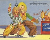 "Vintage Linen Postcard Comic ""Oh Life up here is a merry tune...""  - 1940s - Cowboy - Western"