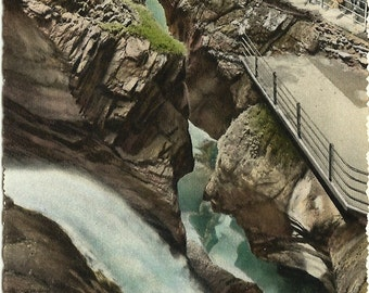 German Lauterbrunnen Trummelbach Fall Women Dressed in Period Clothes Hiking by Falls Vintage Postcard
