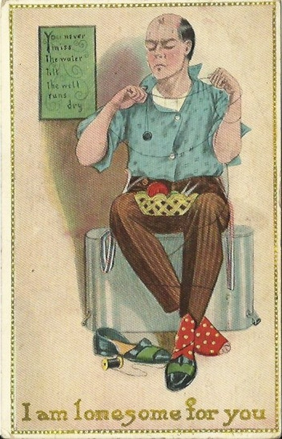 """Antique Postcard Comic Advertising  """"I am lonesome for you"""" 1900's"""
