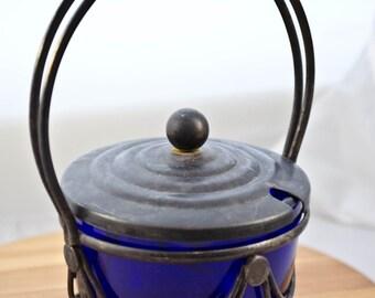 Silver plate and Cobalt Blue Glass Condiments Jar, Mustard Jar, Relish Jar