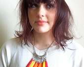 Fire queen feather necklace red, orange, yellow, native, tribal, boho