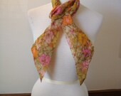 Long V Orange  Hot Pink Cathy of Thousand Oaks Scarf Cravat Sash