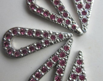 Vintage Pink Rhinestone Tear Shaped  Drop