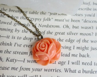 Coral rose necklace- Coral flower necklace- Vintage style necklace- Petite rose necklace- Rosebud necklace- Peach necklace- Coral