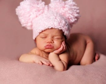 Puffy Pom Baby Girl Crochet Hat Newborn Crochet Photography Prop