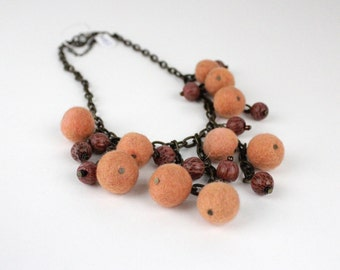Rustic Orange Felted Necklace With Wood Beads