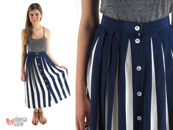 Vintage 1980s Pleated Nautical Maxi Skirt / Nautical Skirt / Pleated Skirt: sm / md / lg