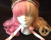 Chocolate Brown Bear Headdress with Pink Ribbon