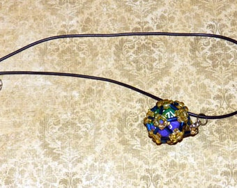 Amber, Blue,  Dice cage, dice jewelry, d20, dice necklace, dungeons and dragons, rpg, tabletop gaming, gamer, nerd, geek, gamers