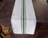 Farmhouse Table Runner with Dark Green Grain Sack Stripes 48 Inches Long - Choose Your Width and Colors - Burlap Table Runn