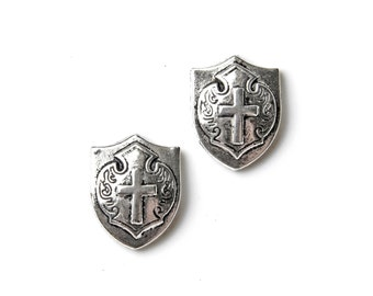 Cross and Shield Cufflinks - Gifts for Men - Anniversary Gift - Handmade - Gift Box Included