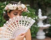 Wedding Lace Fan- Hand Held Fan- Handmade Lace Hand Fan- Folding Hand Fan- Spanish Wedding Fan- Bridal Fan- Wedding Prop- Mother Of Bride