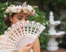Wedding Lace Fan- Hand Held Fan- Handmade Lace Hand Fan- Folding Hand Fan- Spanish Wedding Fan- Bridal Fan- Wedding Prop- Mother Of Bride