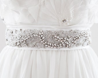 KRISTIN - Rhinestone and Fabric Beaded Bridal Sash, Wedding Belt