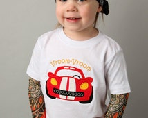 Toddler Baby Tattoo sleeve shirt with race car applique