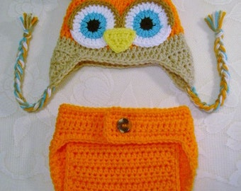 Orange, Tan and Turquoise Owl Hat and Diaper Cover Photo Prop Set - Available in Newborn, 3 to 6, 6 to 12 and 12 to 24