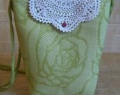 Green floral bag with vintage doily flap - Clearance sale