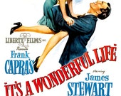 "It's A Wonderful Life - Home Theater Decor Movie Poster Print - 13""x19"" or 24""x36"" - Big Movie Poster - James Stewart Donna Reed Frank Capra"