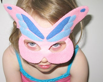 Butterfly felt Mask - pastel Pink Blue - kids carnival costume - gift for girls - soft Dress Up play accessory - Theatre roleplay
