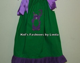 Green Pillowcase Dress with Purple Ruffle and Barney Applique
