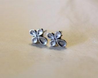 Small Sterling Silver Bubble Cross Earrings-  Pierced