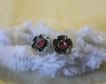 Sterling Silver Flower With Pink Stone Earrings - Pierced