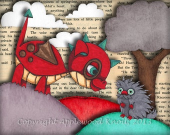 Baby Dragon Nursery Art and Porcupine Print Cute Picture boys or girls room decor