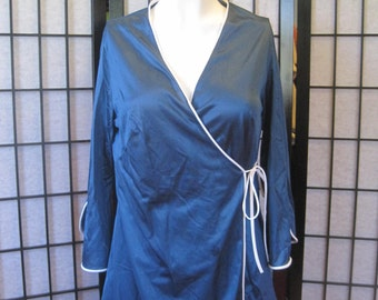 Vintage 1960s 1970s Gossard Artemis Loungewear Tunic Wrap Top Navy Blue White 32 34 36 S M Lingerie Nightgown Palazzo Pants