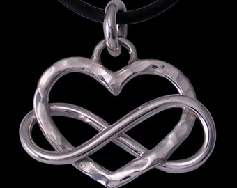 Infinity Heart Love Forever / Eternal Love Pendant hand made in sterlium and sterling silver by Rubyblue Jewelry