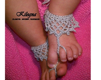 baby barefoot sandals crochet princess baby barefoot sandals Spring Summer Baby - more colors available