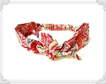 Tie Bow Head Scarf Bright Pink Paisley, Rainbow Rockabilly Retro Headband