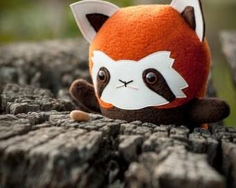 Red Panda plush panda stuffed animal, Handmade stuffed panda, Firefox - lesser panda soft toy doll, Kawaii Japan wildlife gift, Flat Bonnie