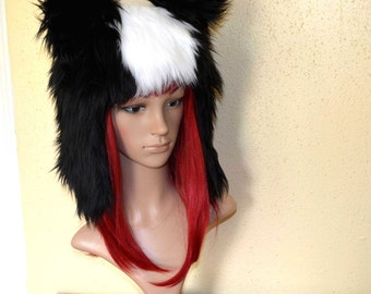 Skunk Hat Faux Fur Animal Hat in Black and White