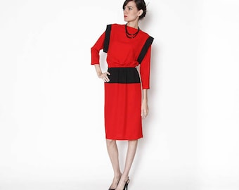 Vintage 80s Red Black Dress / Color blocking / Working girl